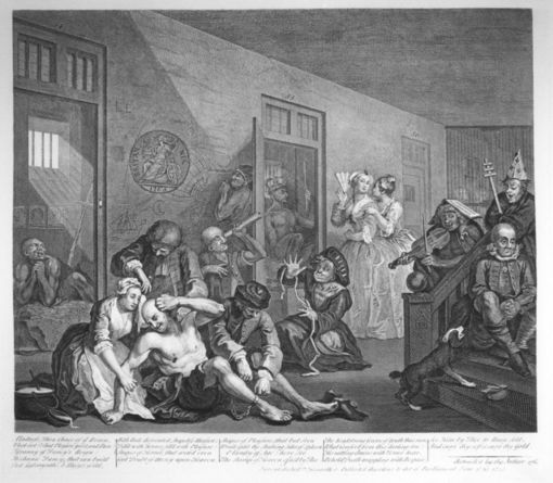 Engraving of the eighth print of A Rake's Progress, by William Hogarth